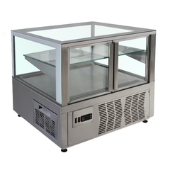 Refrigerating showcase with double-glazing