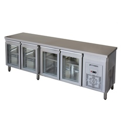 Refrigerating table with double-glazing doors