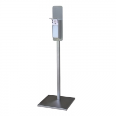 Hand sanitizer stand with elbow dispenser square-tube
