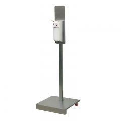 Hand sanitizer stand with elbow dispenser square-tube on wheels