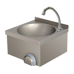 Wall-mounted hand wash-basin with knee control