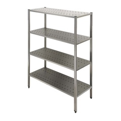 Shelving  with perforated shelves  with tube profiles uprights