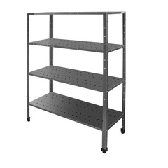 Shelving  with perforated shelves with angle profiles uprights
