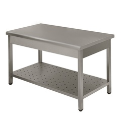 Work table Lux without backsplash with perforated shelf