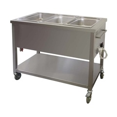 Universal  bain marie without backsplash with shelf with wheels