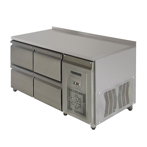 Refrigerating table with backsplash with unit on the side