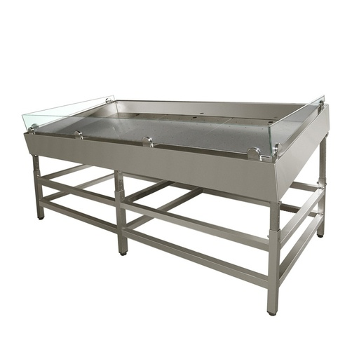 Refrigerating fish table with tilt adjustment with fitted for remote unit