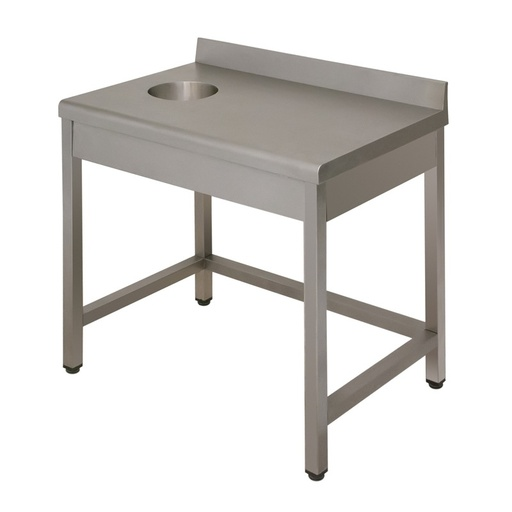 Table with waste disposal hole Lux with backsplash