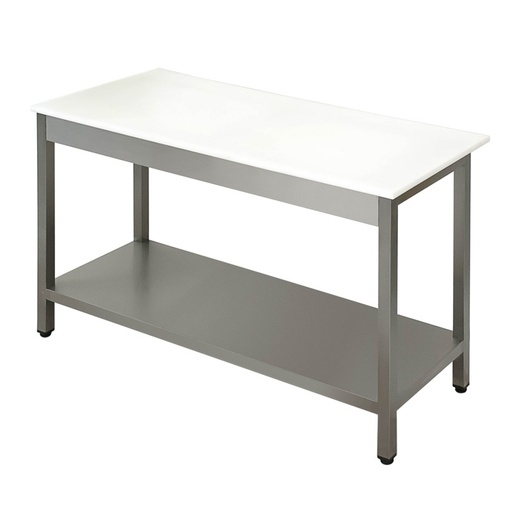Preparation table with polypropylene worktop with shelf