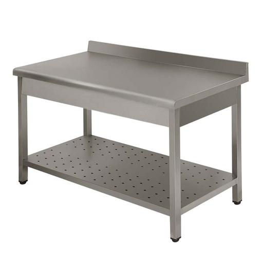 Work table Lux with  backsplash with perforated shelf