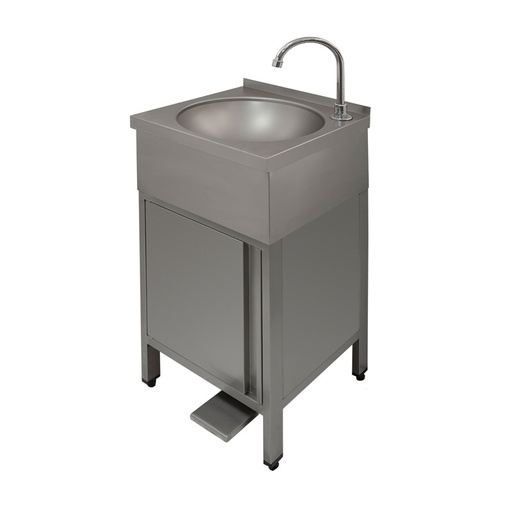 Hand wash-basin with cupboard with pedal control with swing door