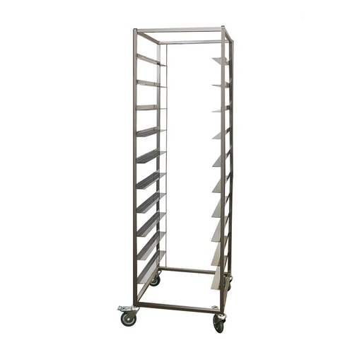 Tray trolley for tableware cassettes with 10 levels