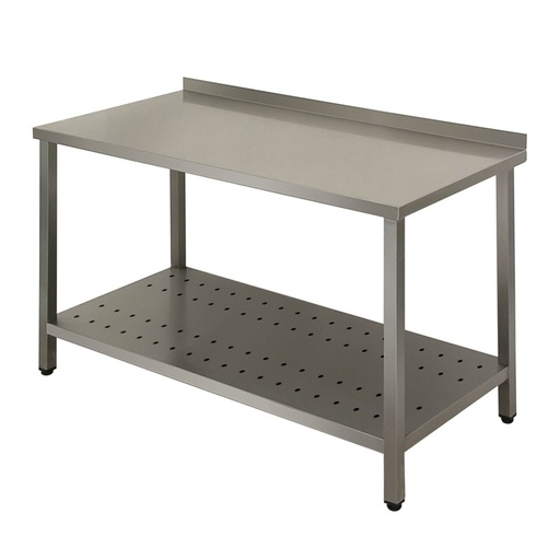Work table Business with backsplash with perforated shelf